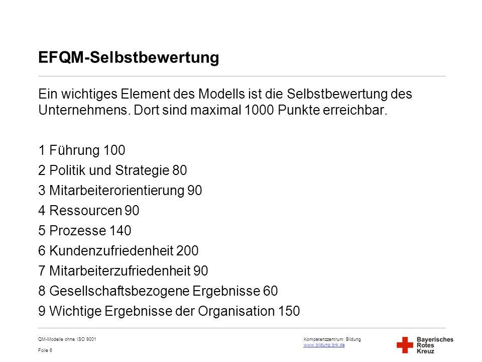 Kompetenzzentrum Bildung www.bildung.brk.de www.bildung.brk.de Folie 6 EFQM-Selbstbewertung Ein wichtiges Element des Modells ist die Selbstbewertung