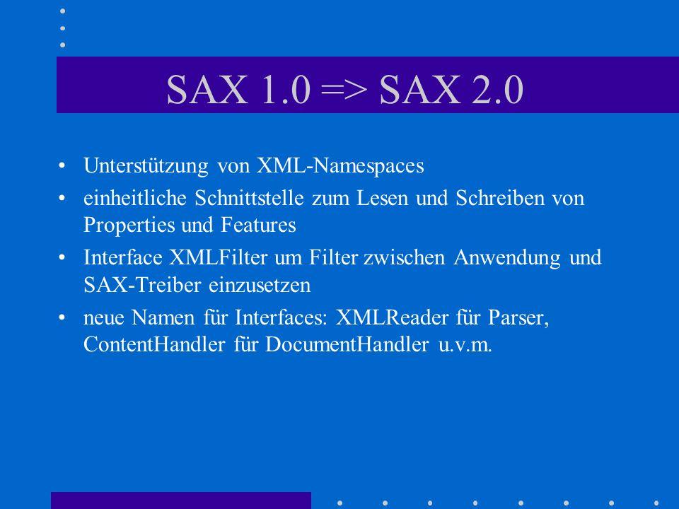 SAX 1.0 => SAX 2.0 Unterstützung von XML-Namespaces einheitliche Schnittstelle zum Lesen und Schreiben von Properties und Features Interface XMLFilter um Filter zwischen Anwendung und SAX-Treiber einzusetzen neue Namen für Interfaces: XMLReader für Parser, ContentHandler für DocumentHandler u.v.m.