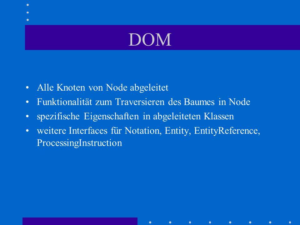Alle Knoten von Node abgeleitet Funktionalität zum Traversieren des Baumes in Node spezifische Eigenschaften in abgeleiteten Klassen weitere Interfaces für Notation, Entity, EntityReference, ProcessingInstruction