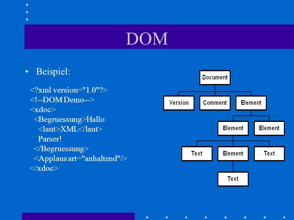 DOM Hallo XML Parser! Beispiel: