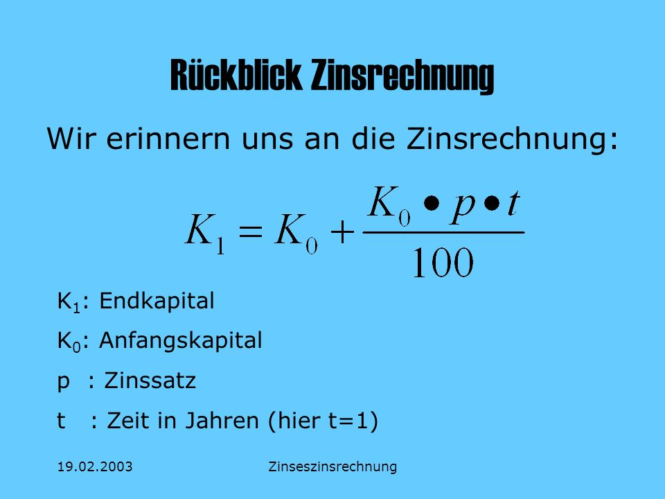 19.02.2003Zinseszinsrechnung Rückblick Zinsrechnung Wir erinnern uns an die Zinsrechnung: K 1 : Endkapital K 0 : Anfangskapital p : Zinssatz t : Zeit