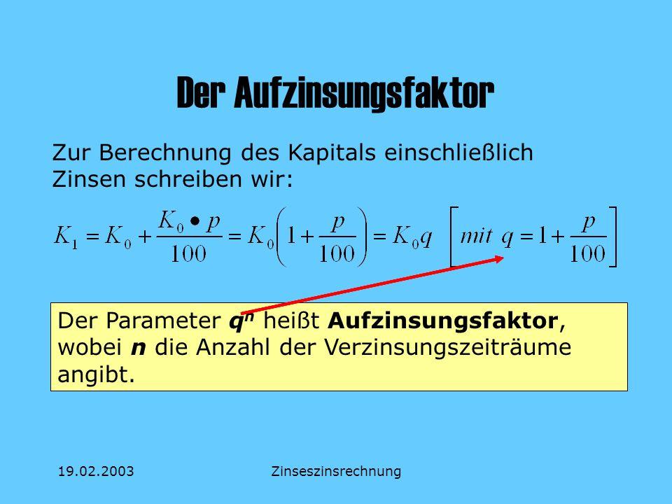 19.02.2003Zinseszinsrechnung Der Aufzinsungsfaktor Zur Berechnung des Kapitals einschließlich Zinsen schreiben wir: Der Parameter q n heißt Aufzinsung