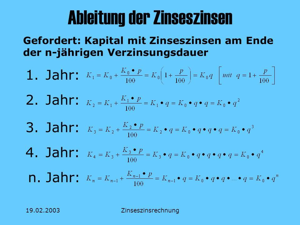 19.02.2003Zinseszinsrechnung Der Abzinsungsfaktor spielt im Zuge der Verbreitung moderner Datenverarbeitung keine Rolle mehr wurde früher für die manuelle Berechnung von Barwerten benötigt ist der Kehrwert des Aufzinsungsfaktors q n :