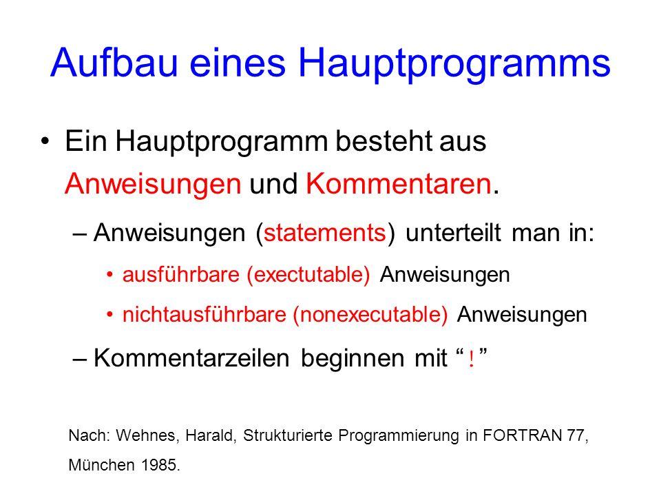 Aufbau eines Hauptprogramms Ein Hauptprogramm besteht aus Anweisungen und Kommentaren. –Anweisungen (statements) unterteilt man in: ausführbare (exect