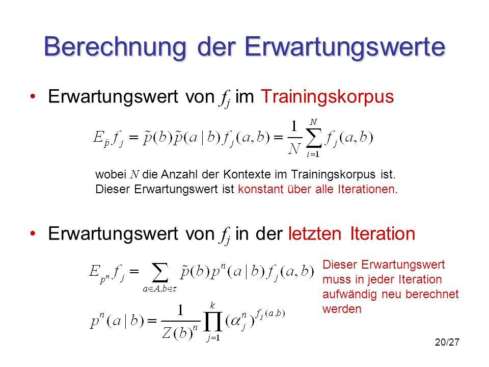 20/27 Berechnung der Erwartungswerte Erwartungswert von f j im Trainingskorpus Erwartungswert von f j in der letzten Iteration wobei N die Anzahl der Kontexte im Trainingskorpus ist.