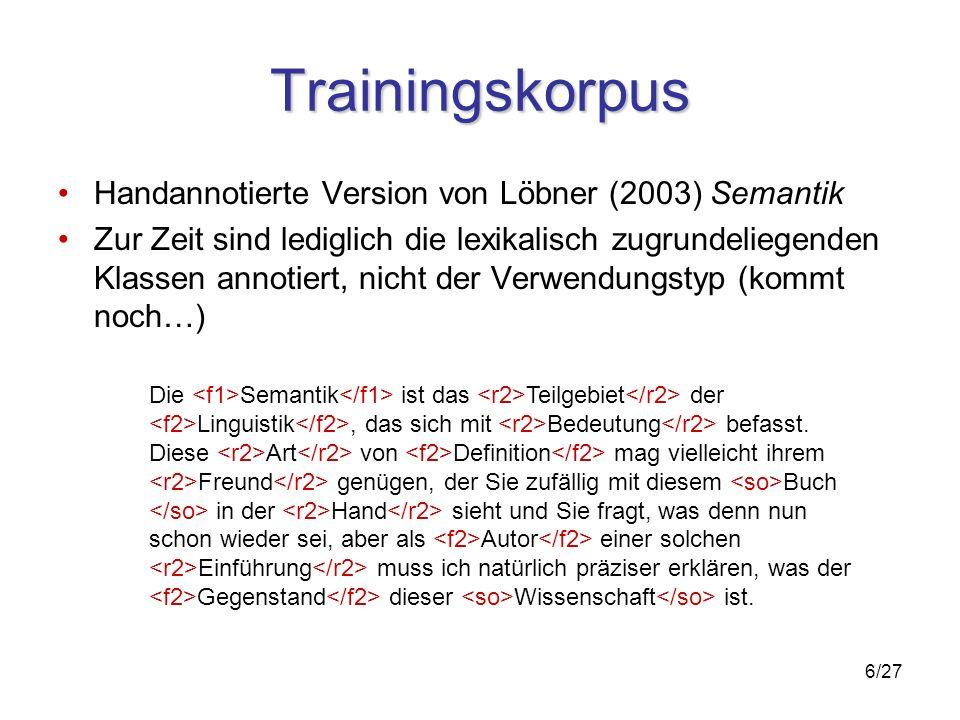 6/27 Trainingskorpus Handannotierte Version von Löbner (2003) Semantik Zur Zeit sind lediglich die lexikalisch zugrundeliegenden Klassen annotiert, nicht der Verwendungstyp (kommt noch…) Die Semantik ist das Teilgebiet der Linguistik, das sich mit Bedeutung befasst.
