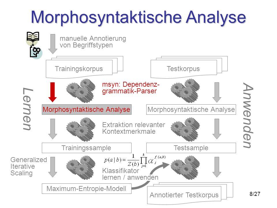 8/27 Morphosyntaktische Analyse Trainingskorpus Trainingssample Maximum-Entropie-Modell msyn: Dependenz- grammatik-Parser Extraktion relevanter Kontex