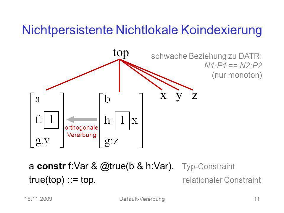 18.11.2009Default-Vererbung11 Nichtpersistente Nichtlokale Koindexierung a constr f:Var & @true(b & h:Var). Typ-Constraint true(top) ::= top. relation