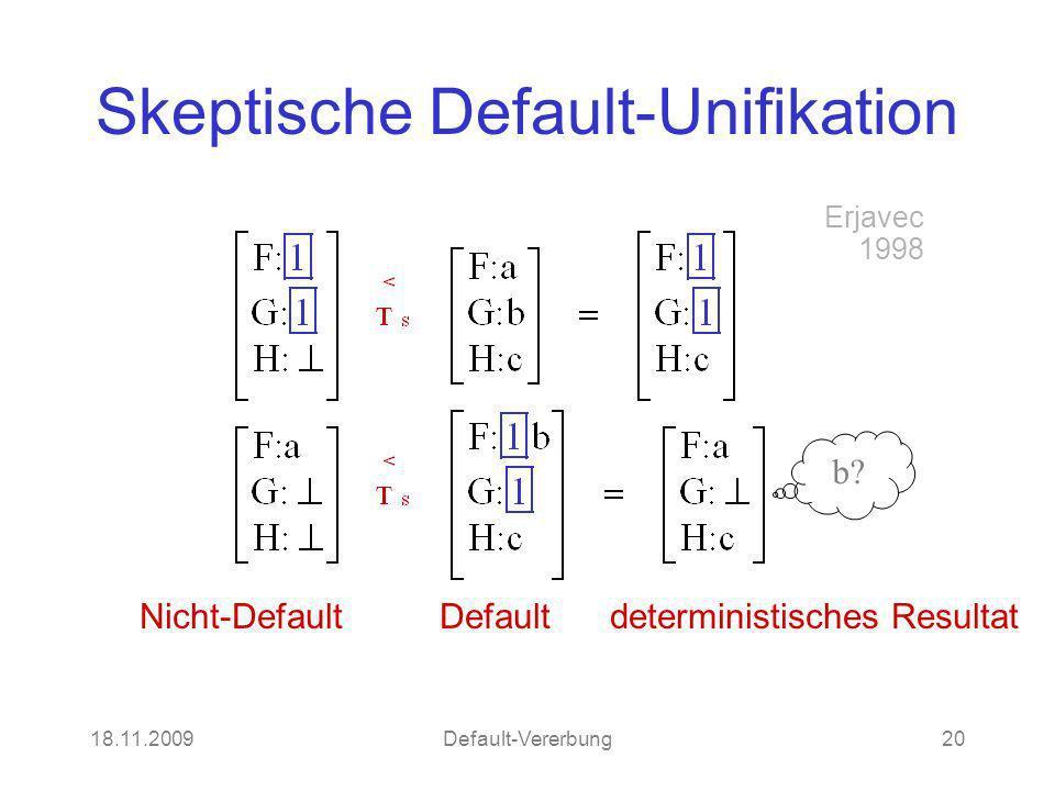 18.11.2009Default-Vererbung20 Skeptische Default-Unifikation Nicht-Default Default deterministisches Resultat Erjavec 1998 b?