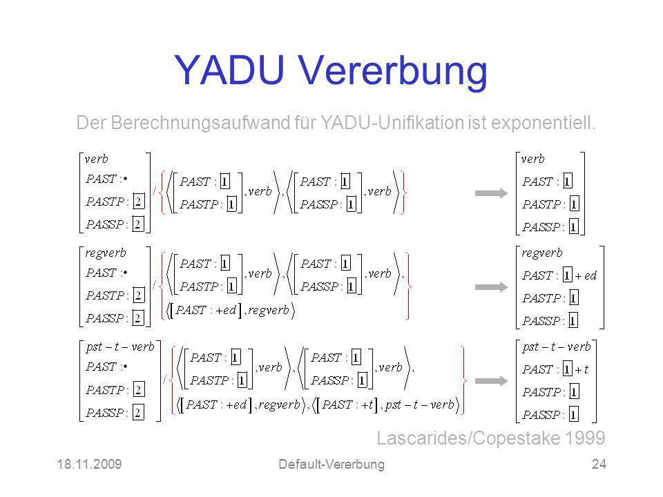 18.11.2009Default-Vererbung24 YADU Vererbung Lascarides/Copestake 1999 Der Berechnungsaufwand für YADU-Unifikation ist exponentiell.