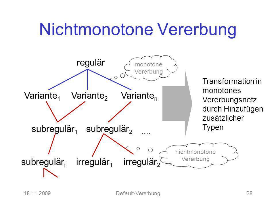 18.11.2009Default-Vererbung28 Nichtmonotone Vererbung regulär Variante 1 Variante 2 Variante n subregulär 1 subregulär 2..... subregulär i irregulär 1