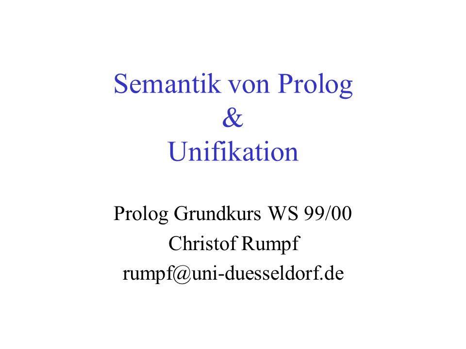 Semantik von Prolog & Unifikation Prolog Grundkurs WS 99/00 Christof Rumpf rumpf@uni-duesseldorf.de