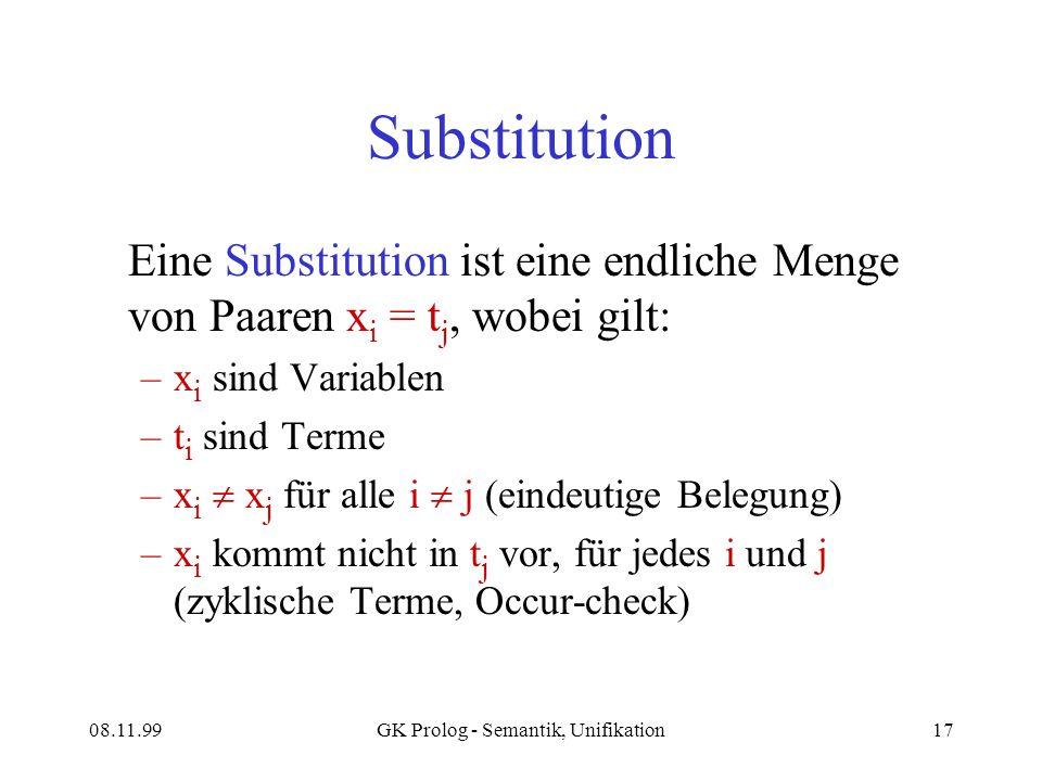 08.11.99GK Prolog - Semantik, Unifikation17 Substitution Eine Substitution ist eine endliche Menge von Paaren x i = t j, wobei gilt: –x i sind Variablen –t i sind Terme –x i x j für alle i j (eindeutige Belegung) –x i kommt nicht in t j vor, für jedes i und j (zyklische Terme, Occur-check)