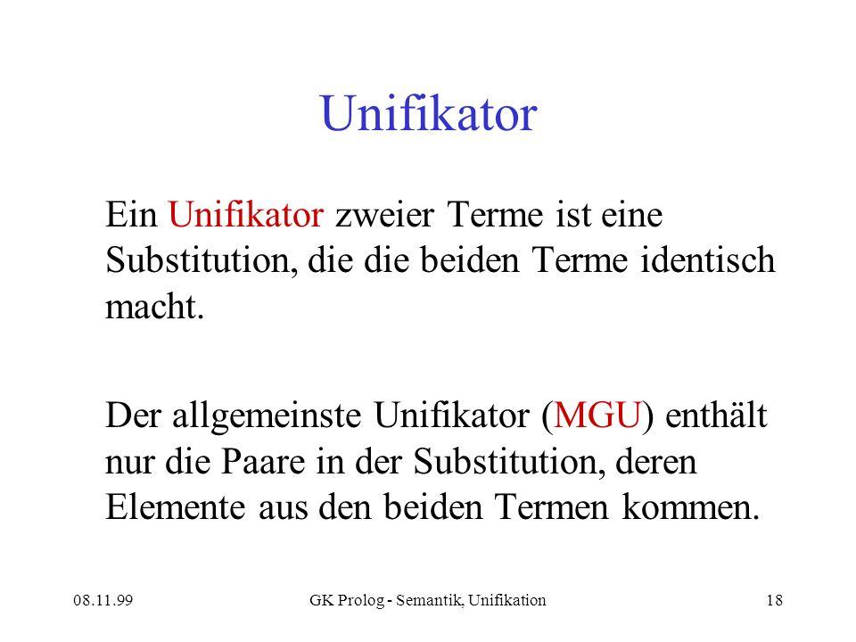 08.11.99GK Prolog - Semantik, Unifikation18 Unifikator Ein Unifikator zweier Terme ist eine Substitution, die die beiden Terme identisch macht.