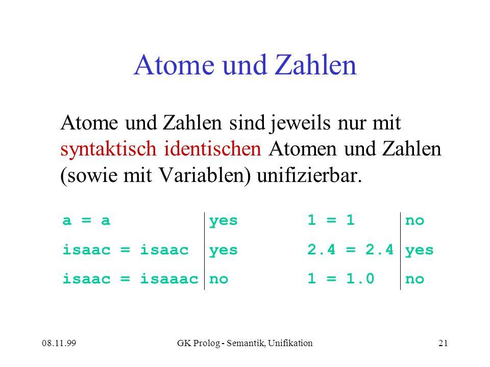 08.11.99GK Prolog - Semantik, Unifikation21 Atome und Zahlen Atome und Zahlen sind jeweils nur mit syntaktisch identischen Atomen und Zahlen (sowie mit Variablen) unifizierbar.
