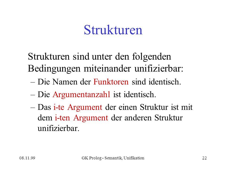 08.11.99GK Prolog - Semantik, Unifikation22 Strukturen Strukturen sind unter den folgenden Bedingungen miteinander unifizierbar: –Die Namen der Funktoren sind identisch.