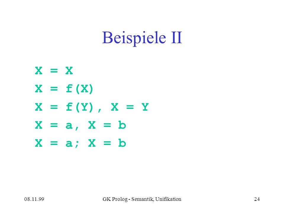 08.11.99GK Prolog - Semantik, Unifikation24 Beispiele II X = X X = f(X) X = f(Y), X = Y X = a, X = b X = a; X = b