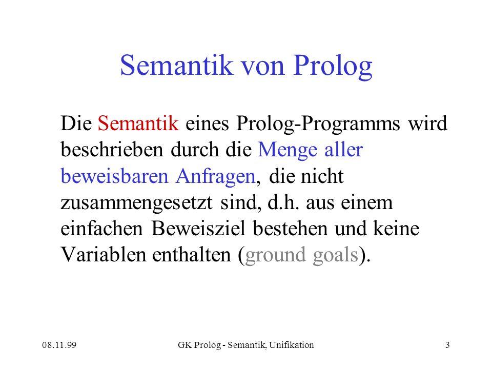 08.11.99GK Prolog - Semantik, Unifikation3 Semantik von Prolog Die Semantik eines Prolog-Programms wird beschrieben durch die Menge aller beweisbaren Anfragen, die nicht zusammengesetzt sind, d.h.