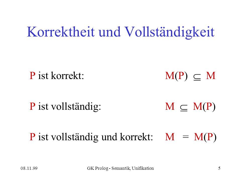 08.11.99GK Prolog - Semantik, Unifikation5 Korrektheit und Vollständigkeit P ist korrekt:M(P) M P ist vollständig: M M(P) P ist vollständig und korrekt:M = M(P)