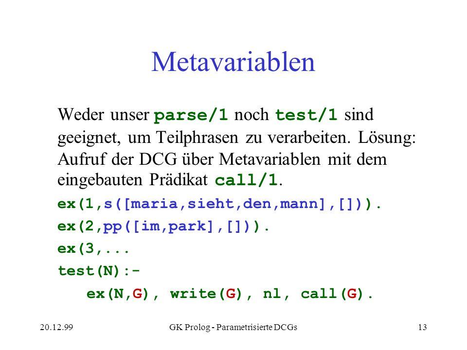 20.12.99GK Prolog - Parametrisierte DCGs13 Metavariablen Weder unser parse/1 noch test/1 sind geeignet, um Teilphrasen zu verarbeiten. Lösung: Aufruf