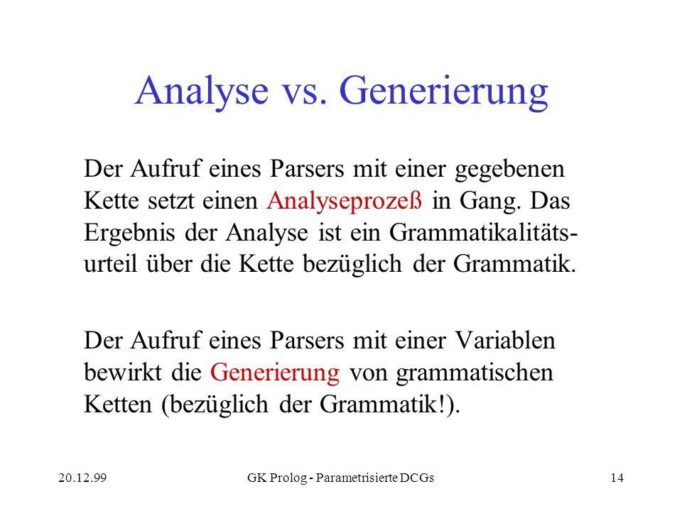 20.12.99GK Prolog - Parametrisierte DCGs14 Analyse vs. Generierung Der Aufruf eines Parsers mit einer gegebenen Kette setzt einen Analyseprozeß in Gan