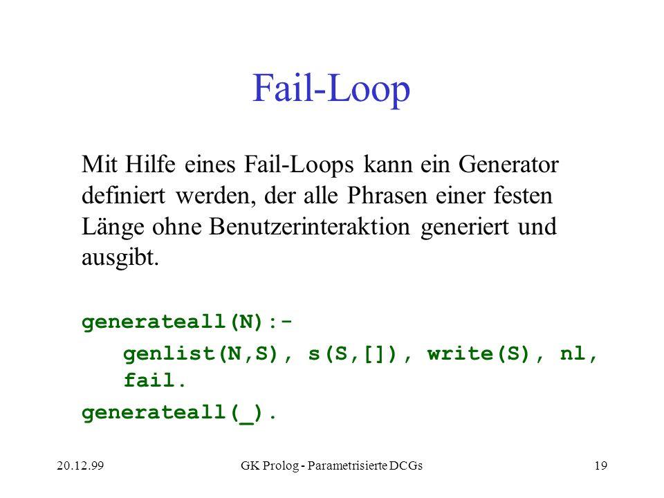 20.12.99GK Prolog - Parametrisierte DCGs19 Fail-Loop Mit Hilfe eines Fail-Loops kann ein Generator definiert werden, der alle Phrasen einer festen Län