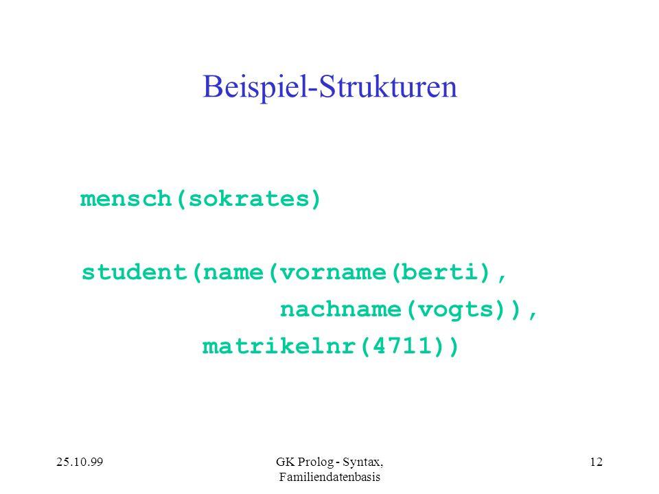 25.10.99GK Prolog - Syntax, Familiendatenbasis 12 Beispiel-Strukturen mensch(sokrates) student(name(vorname(berti), nachname(vogts)), matrikelnr(4711)