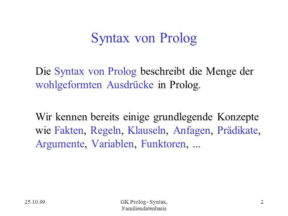25.10.99GK Prolog - Syntax, Familiendatenbasis 2 Syntax von Prolog Die Syntax von Prolog beschreibt die Menge der wohlgeformten Ausdrücke in Prolog. W