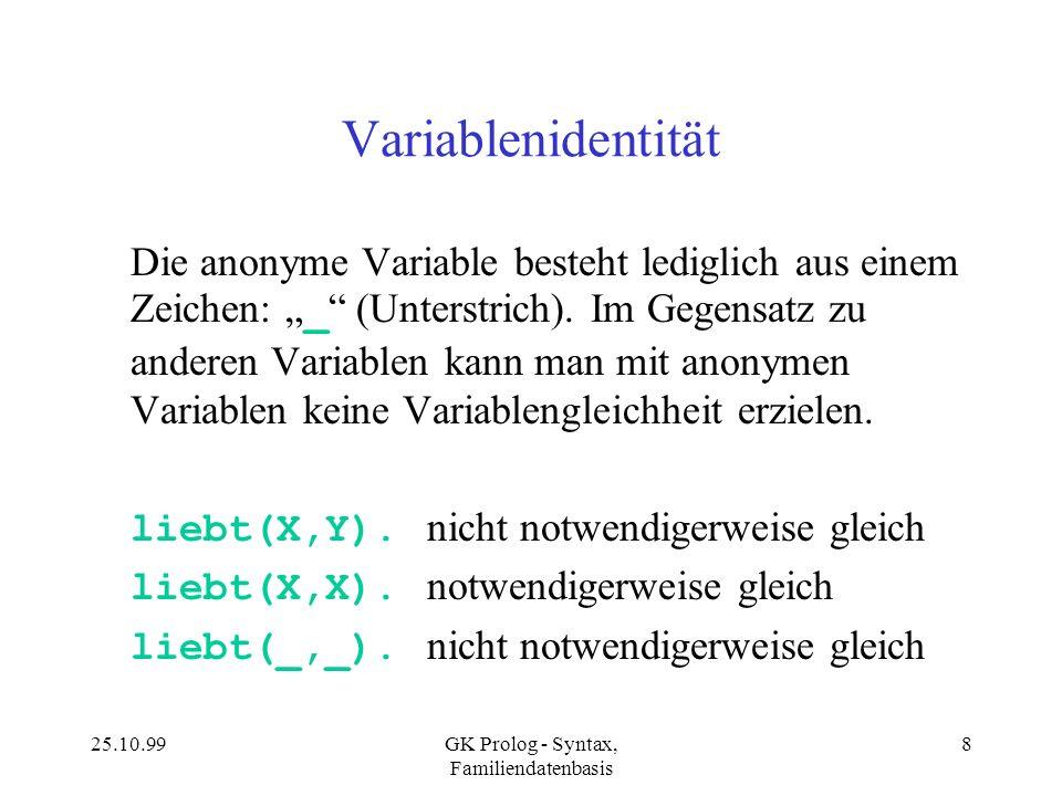 25.10.99GK Prolog - Syntax, Familiendatenbasis 8 Variablenidentität Die anonyme Variable besteht lediglich aus einem Zeichen: _ (Unterstrich). Im Gege
