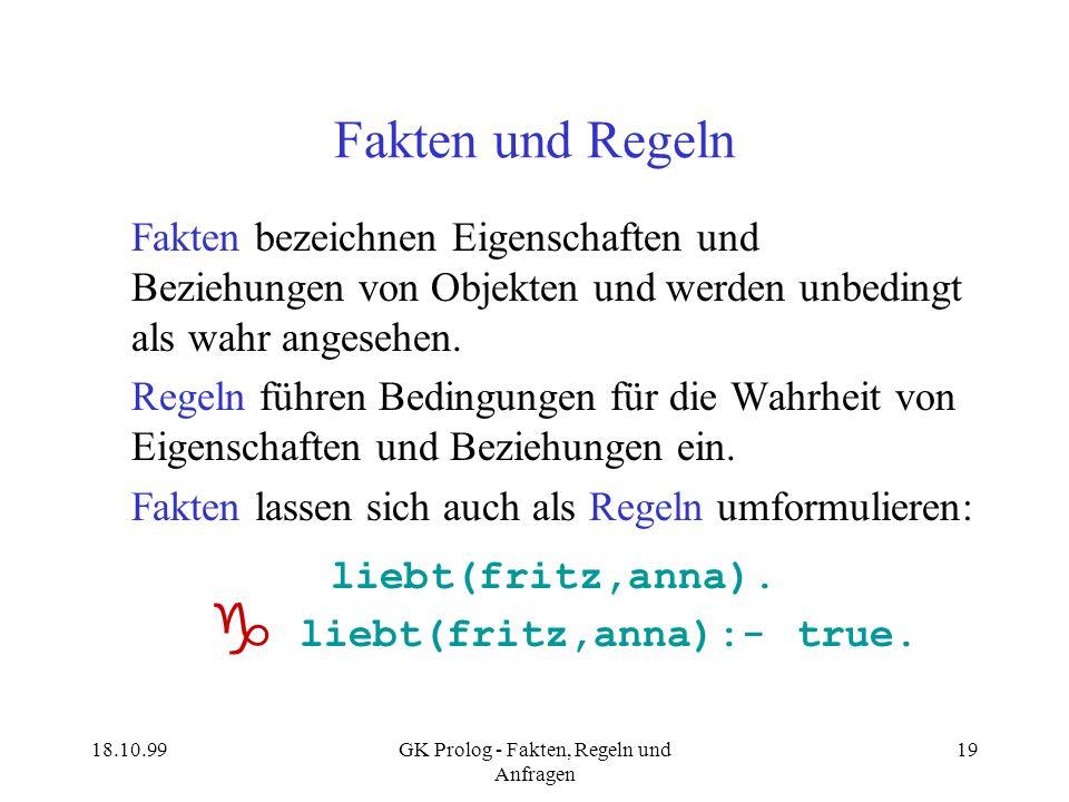 18.10.99GK Prolog - Fakten, Regeln und Anfragen 19 Fakten und Regeln Fakten bezeichnen Eigenschaften und Beziehungen von Objekten und werden unbedingt