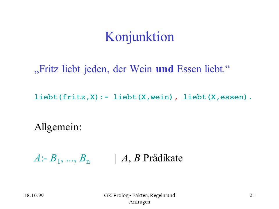18.10.99GK Prolog - Fakten, Regeln und Anfragen 21 Konjunktion Fritz liebt jeden, der Wein und Essen liebt. liebt(fritz,X):- liebt(X,wein), liebt(X,es