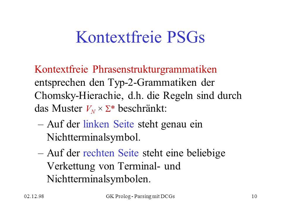 02.12.98GK Prolog - Parsing mit DCGs10 Kontextfreie PSGs Kontextfreie Phrasenstrukturgrammatiken entsprechen den Typ-2-Grammatiken der Chomsky-Hierach