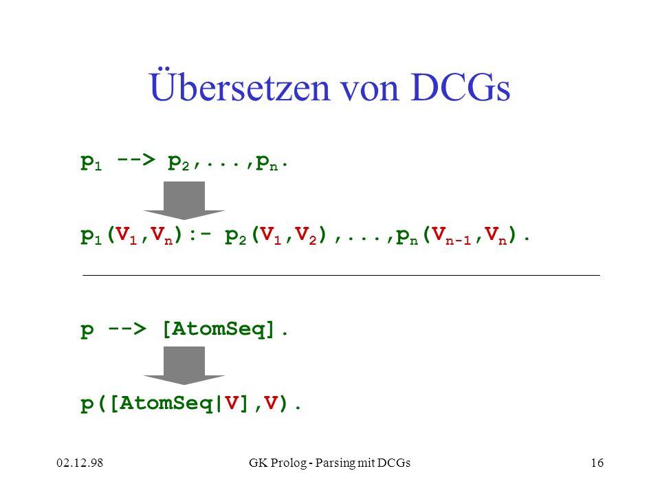 02.12.98GK Prolog - Parsing mit DCGs16 Übersetzen von DCGs p 1 --> p 2,...,p n. p 1 (V 1,V n ):- p 2 (V 1,V 2 ),...,p n (V n-1,V n ). p --> [AtomSeq].