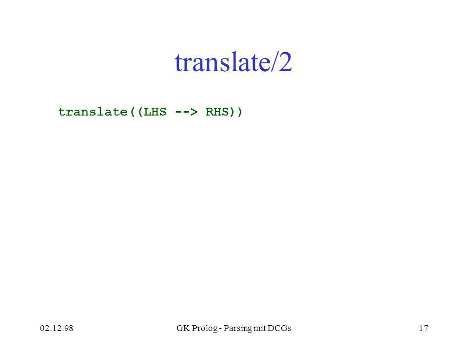 02.12.98GK Prolog - Parsing mit DCGs17 translate/2 translate((LHS --> RHS))