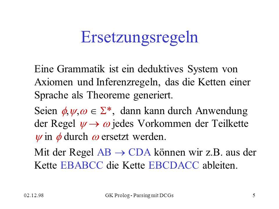 02.12.98GK Prolog - Parsing mit DCGs5 Ersetzungsregeln Eine Grammatik ist ein deduktives System von Axiomen und Inferenzregeln, das die Ketten einer S