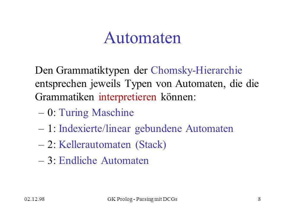 02.12.98GK Prolog - Parsing mit DCGs8 Automaten Den Grammatiktypen der Chomsky-Hierarchie entsprechen jeweils Typen von Automaten, die die Grammatiken