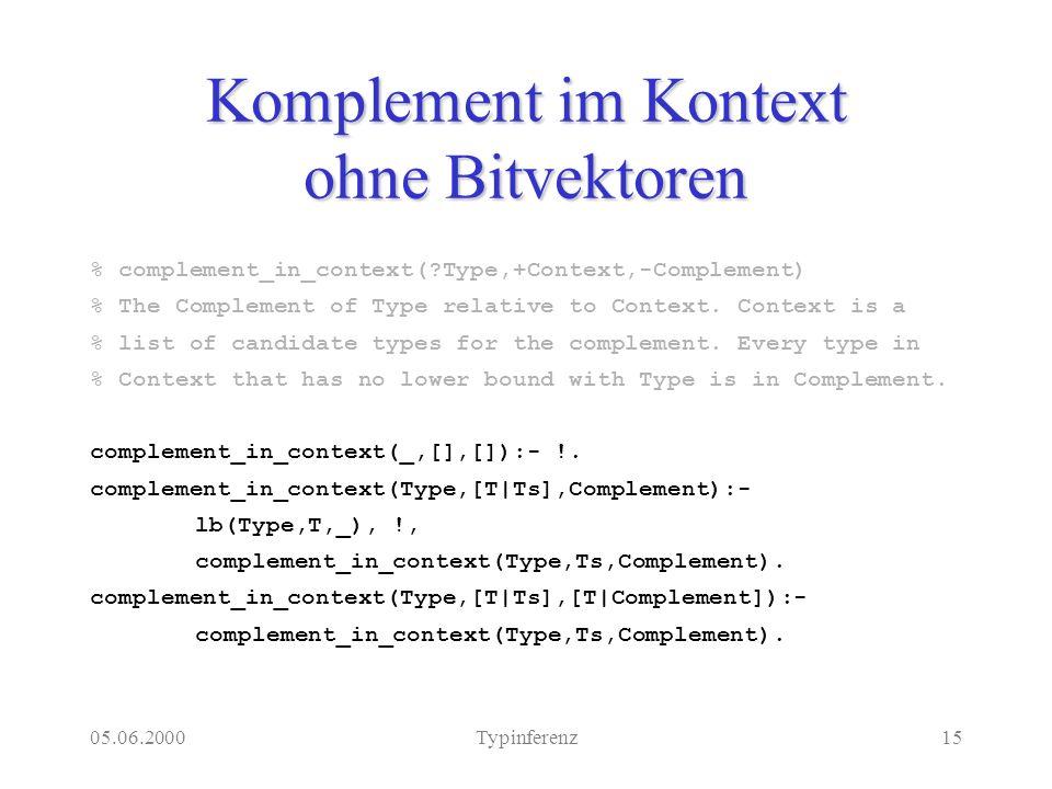 05.06.2000Typinferenz15 Komplement im Kontext ohne Bitvektoren % complement_in_context( Type,+Context,-Complement) % The Complement of Type relative to Context.