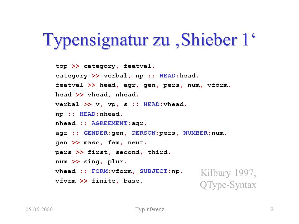 05.06.2000Typinferenz2 Typensignatur zu Shieber 1 top >> category, featval. category >> verbal, np :: HEAD:head. featval >> head, agr, gen, pers, num,