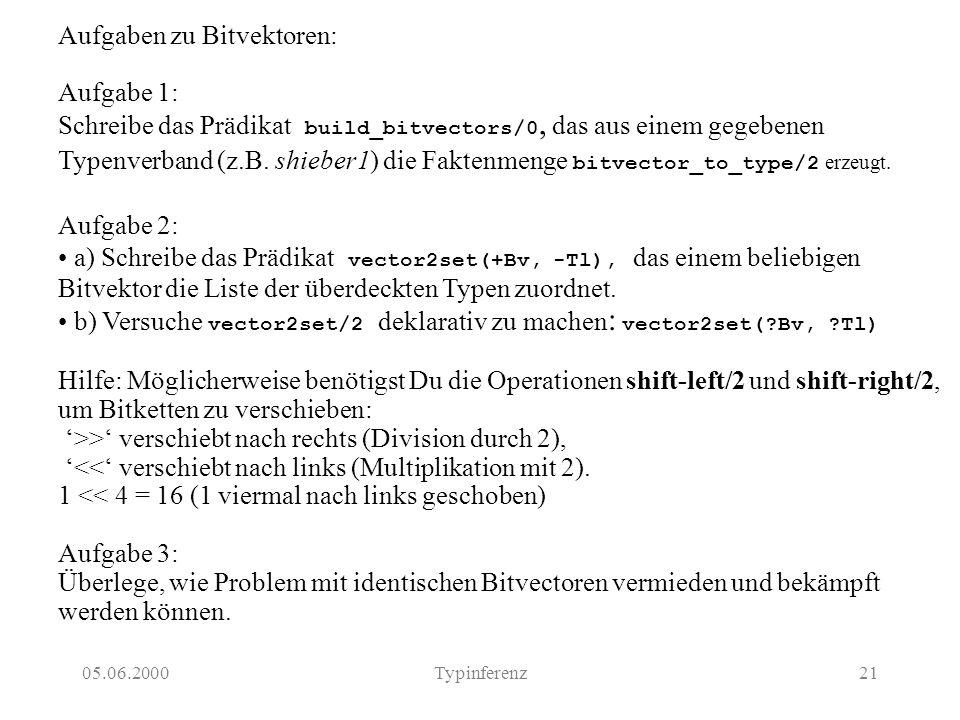 05.06.2000Typinferenz21 Aufgaben zu Bitvektoren: Aufgabe 1: Schreibe das Prädikat build_bitvectors/0, das aus einem gegebenen Typenverband (z.B. shieb