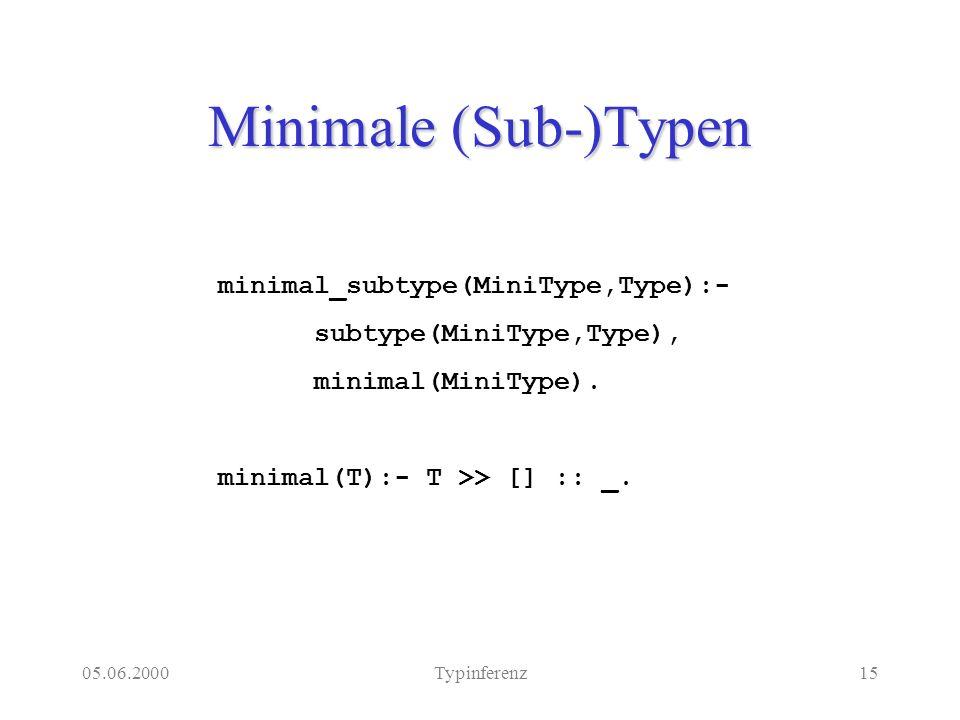 05.06.2000Typinferenz15 Minimale (Sub-)Typen minimal_subtype(MiniType,Type):- subtype(MiniType,Type), minimal(MiniType).