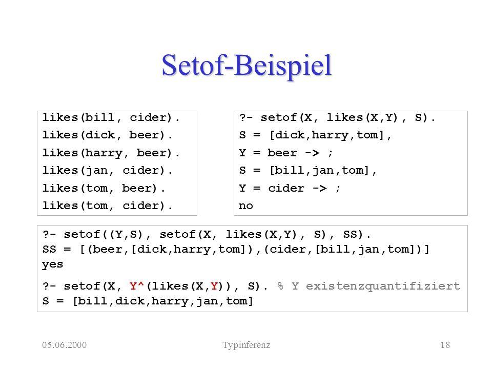 05.06.2000Typinferenz18 Setof-Beispiel likes(bill, cider).