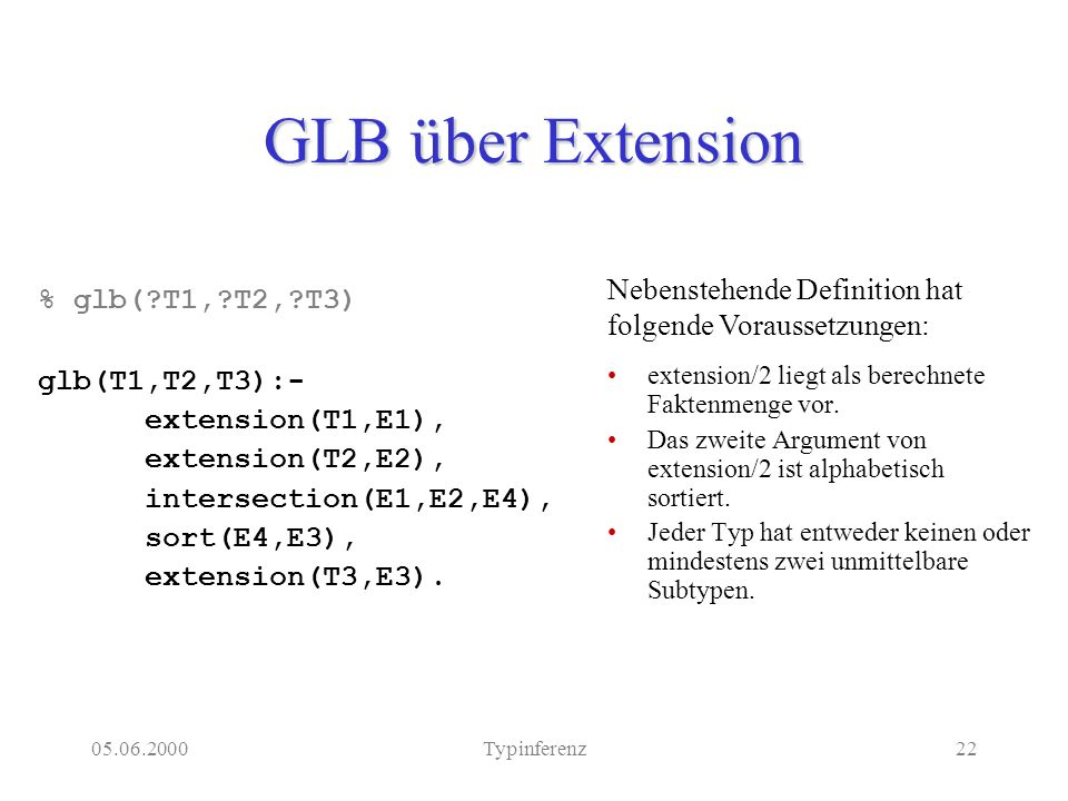 05.06.2000Typinferenz22 GLB über Extension extension/2 liegt als berechnete Faktenmenge vor.