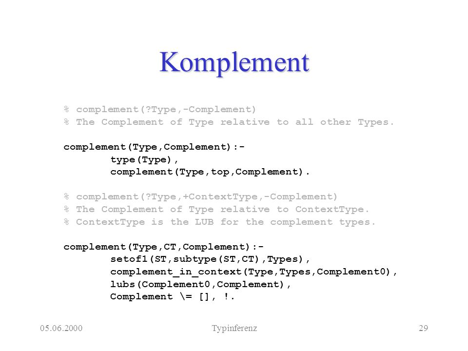 05.06.2000Typinferenz29 Komplement % complement(?Type,-Complement) % The Complement of Type relative to all other Types. complement(Type,Complement):-