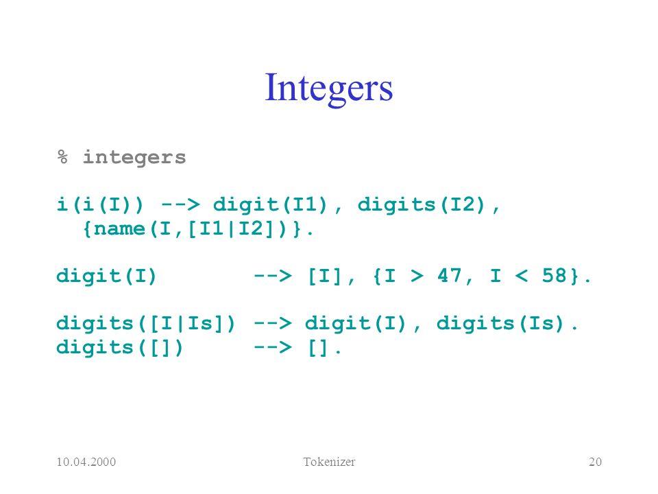 10.04.2000Tokenizer20 Integers % integers i(i(I)) --> digit(I1), digits(I2), {name(I,[I1|I2])}.
