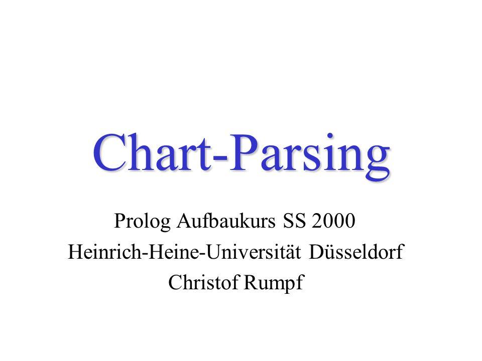 Chart-Parsing Prolog Aufbaukurs SS 2000 Heinrich-Heine-Universität Düsseldorf Christof Rumpf