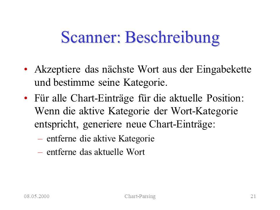 08.05.2000Chart-Parsing21 Scanner: Beschreibung Akzeptiere das nächste Wort aus der Eingabekette und bestimme seine Kategorie. Für alle Chart-Einträge
