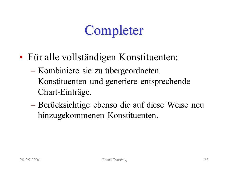 08.05.2000Chart-Parsing23 Completer Für alle vollständigen Konstituenten: –Kombiniere sie zu übergeordneten Konstituenten und generiere entsprechende