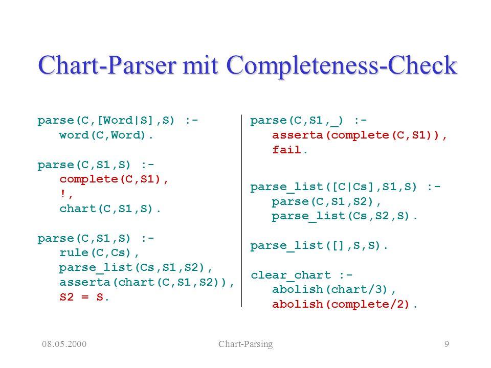 08.05.2000Chart-Parsing10 Subkategorisierung rule(vp,[verbal(0)]).