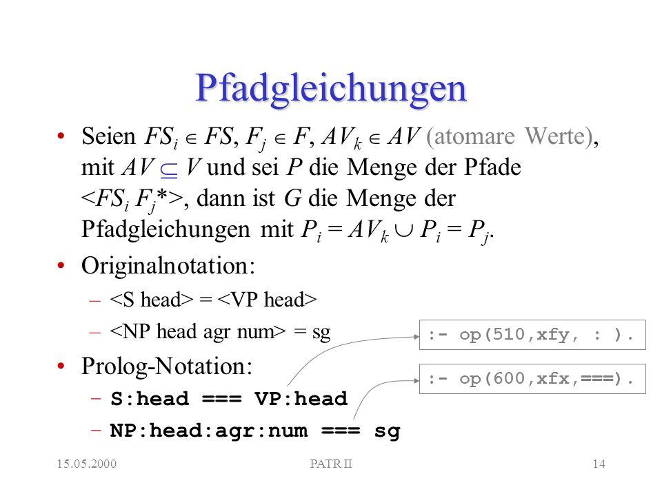 15.05.2000PATR II14 Pfadgleichungen Seien FS i FS, F j F, AV k AV (atomare Werte), mit AV V und sei P die Menge der Pfade, dann ist G die Menge der Pfadgleichungen mit P i = AV k P i = P j.