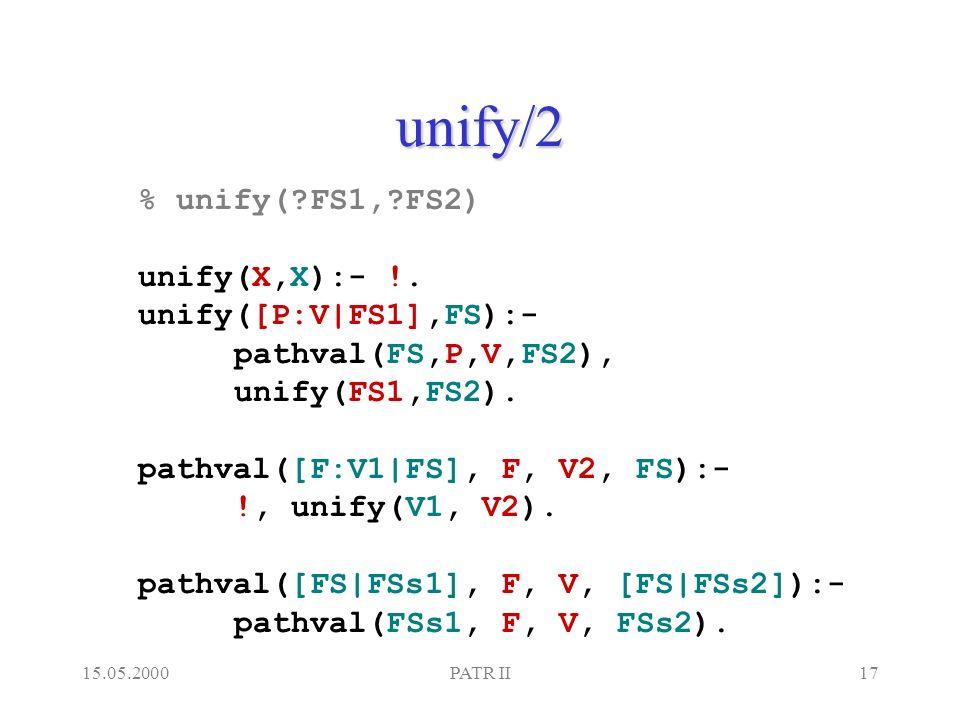 15.05.2000PATR II17 unify/2 % unify( FS1, FS2) unify(X,X):- !.